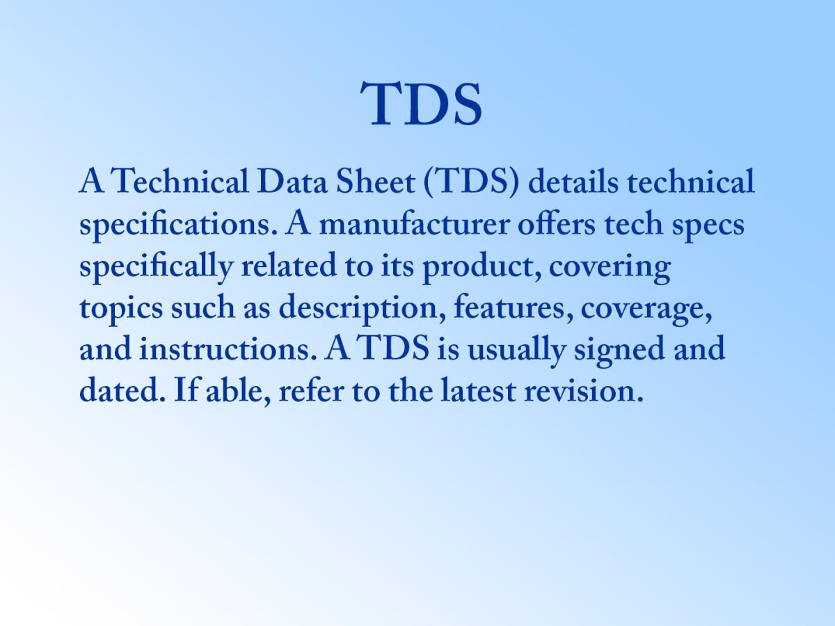 Definition of a Technical Data Sheet