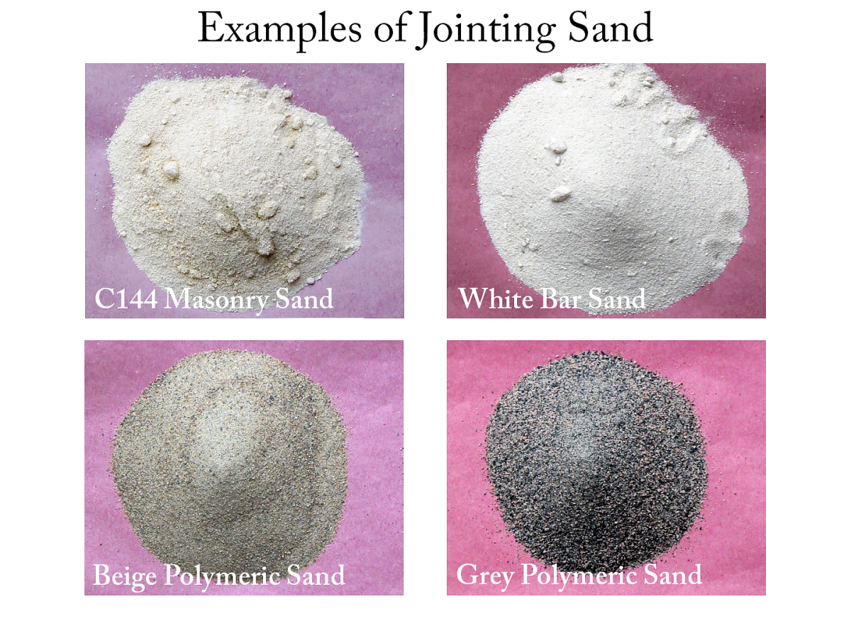 Alternative jointing sands (clockwise from top left) include C144 mason sand, white bar sand, grey polymeric sand and beige polymeric sand.