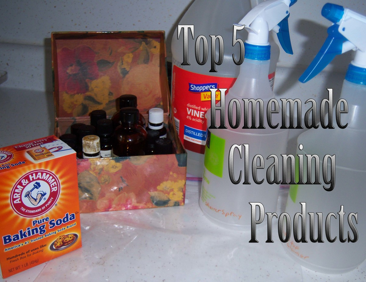You'll be surprised at how many homemade cleaning products you can make with vinegar, essential oils, water, dishwashing detergent and baking soda.