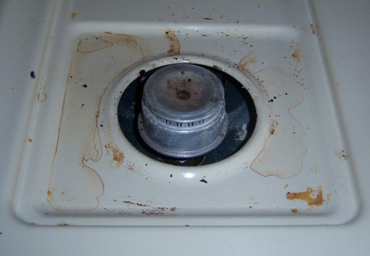 The burner before I cleaned it.