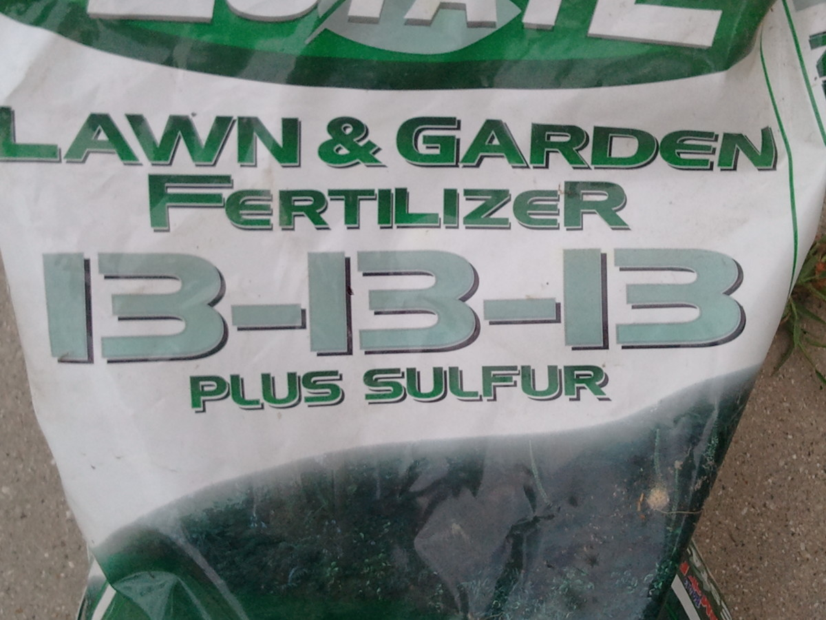 Fertilizer bag with formulation listed in bold letters. 13% N, 13% P, 13% K