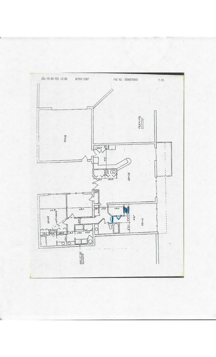 Current floor plan with minor corrections in blue ink