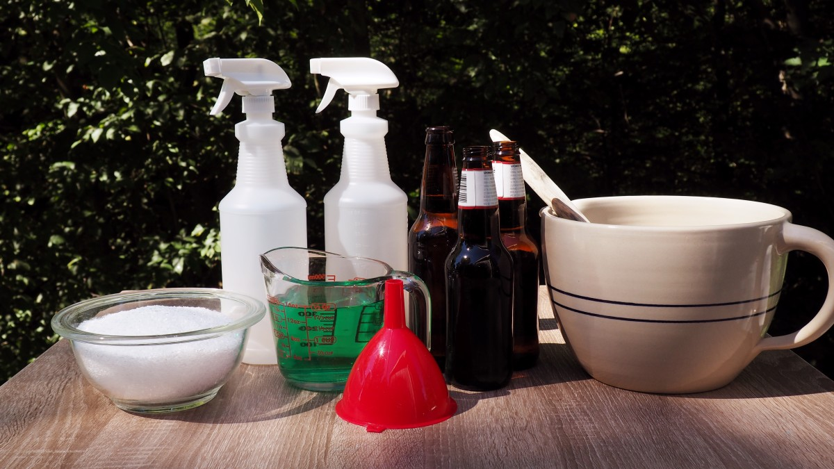 These are all of the supplies and ingredients that you'll need to make the mosquito spray at home!