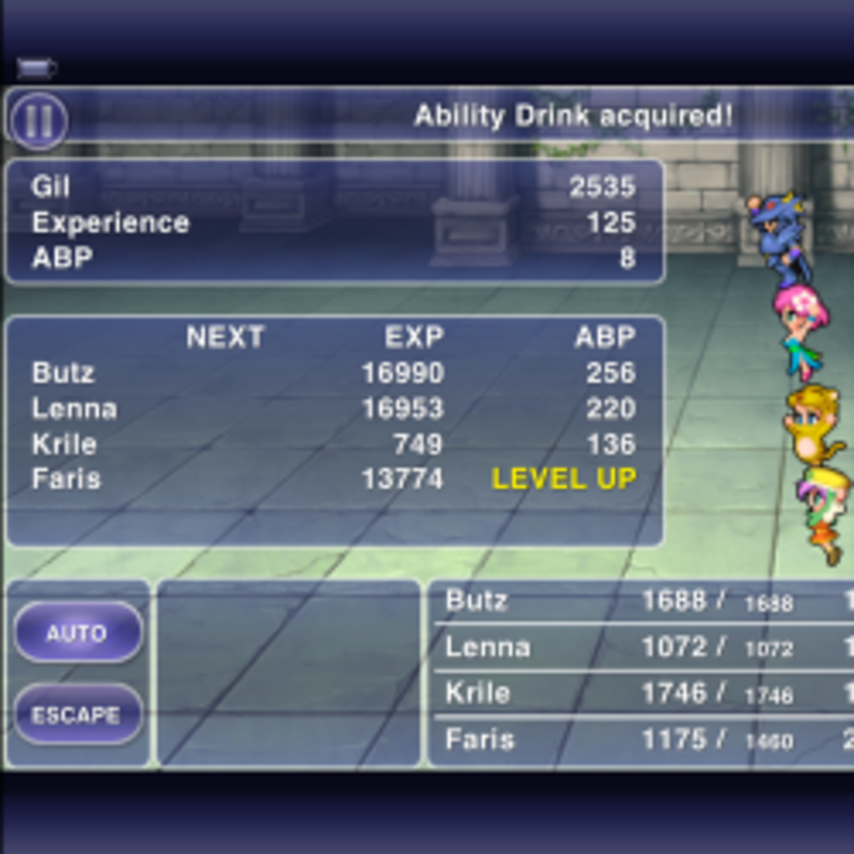 Screencap from the iOS remake of FFV, which is the GBA version redrawn. What, Faris only NOW learned to drink?