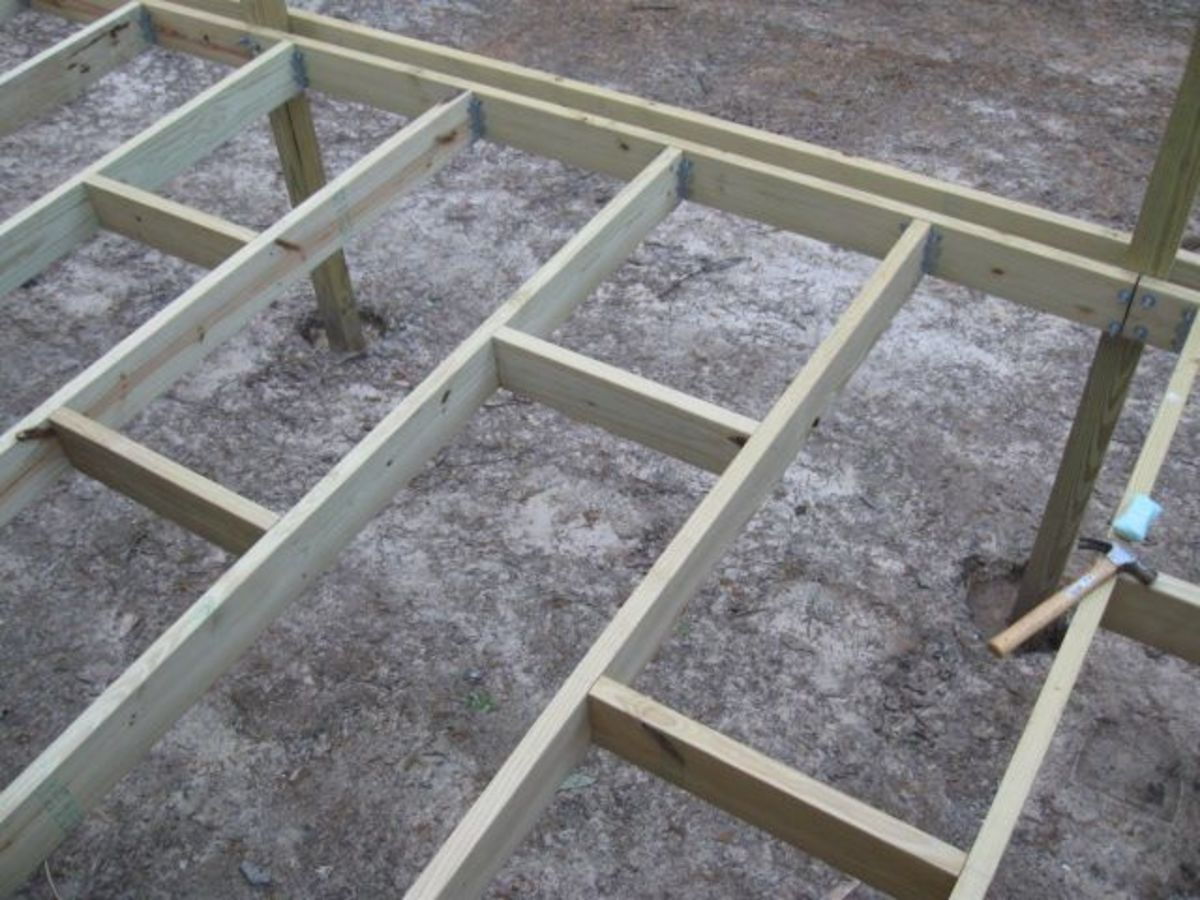 Overhead view of the deck framing. It's funky looking now but I can jump on it and it doesn't budge.