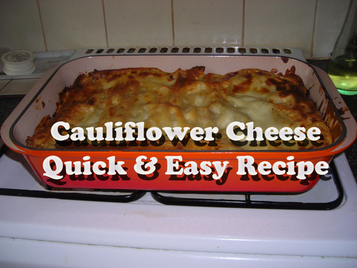 Cauliflower cheese in a metal baking dish