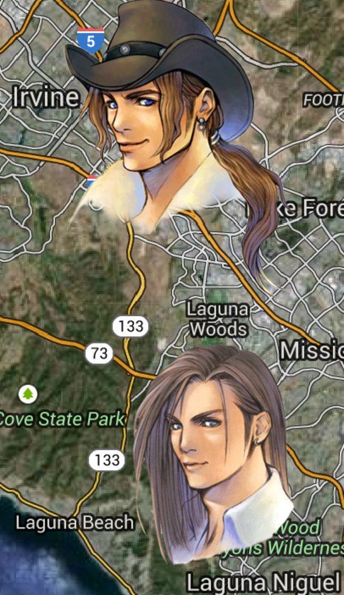 Irvine (formerly a ranch) and Laguna Beach in Southern California evidently inspired the names of Irvine Kinneas and Laguna Loire in FFVIII. There used to be a Squaresoft office in Costa Mesa, the next city to the NW of Irvine.