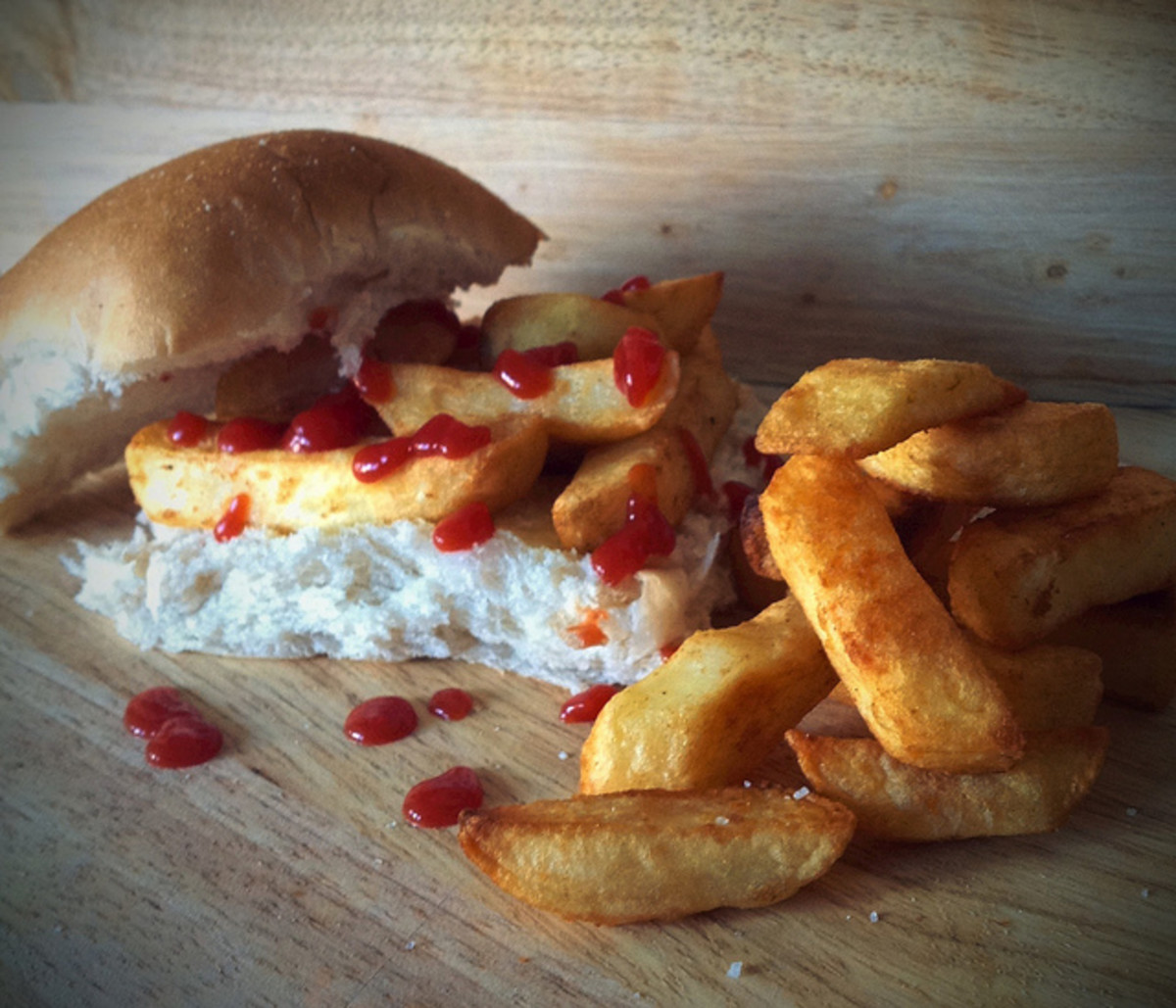Chip butty with ketchup