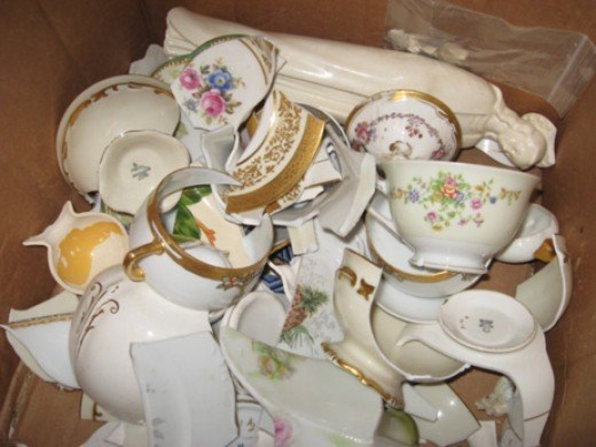 Broken china and dishes can be salvaged for creative craft projects.