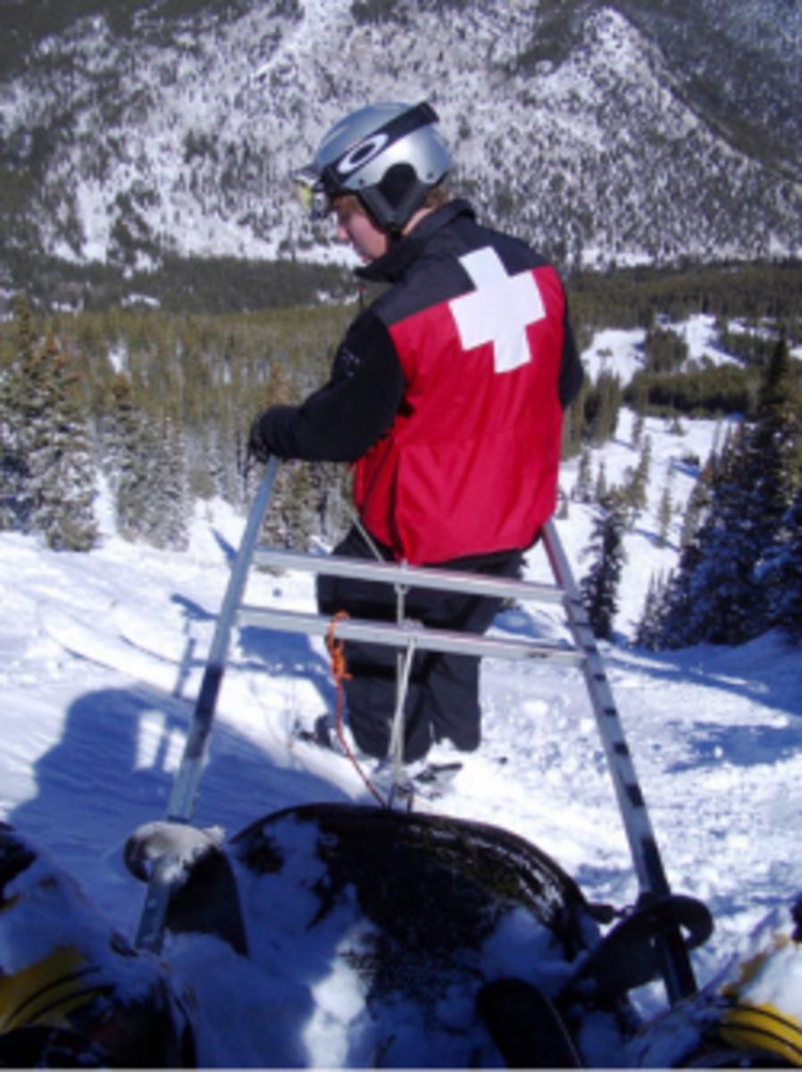 Coming off the mountain via ski patrol