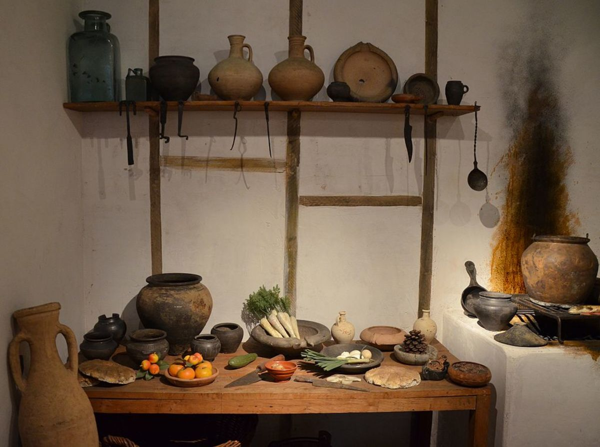 Here's a reconstructed Roman kitchen.