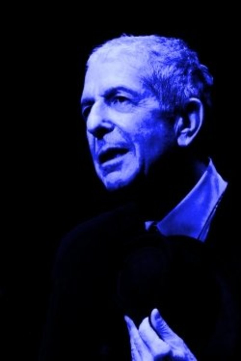 Photo of Leonard Cohen from Wikipedia, Creative Commons, courtesy of Rama, edited by myself.