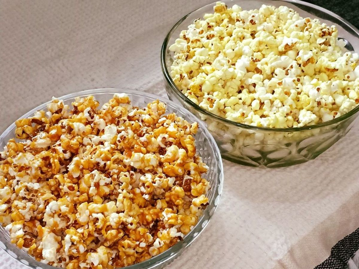 Two types of homemade popcorn: salted and caramel