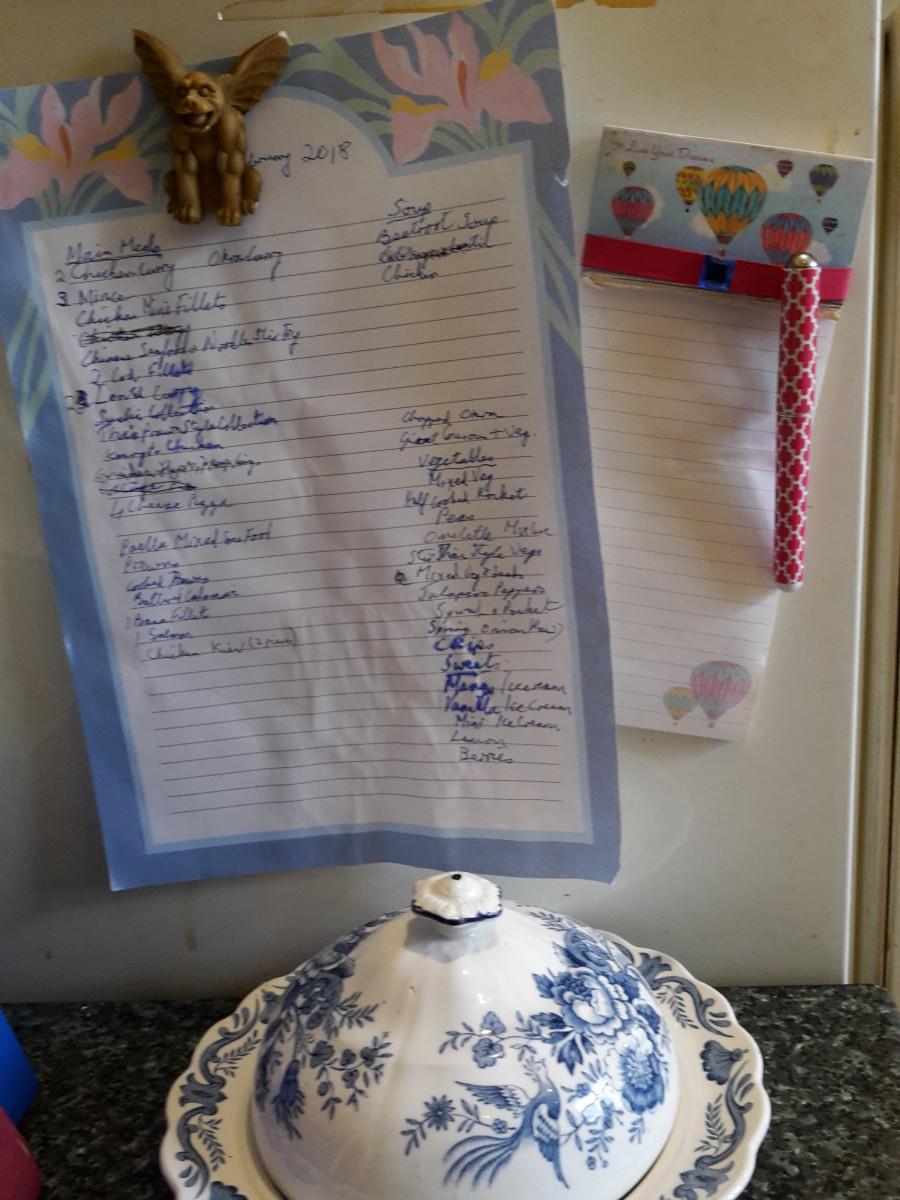 A list of freezer contents