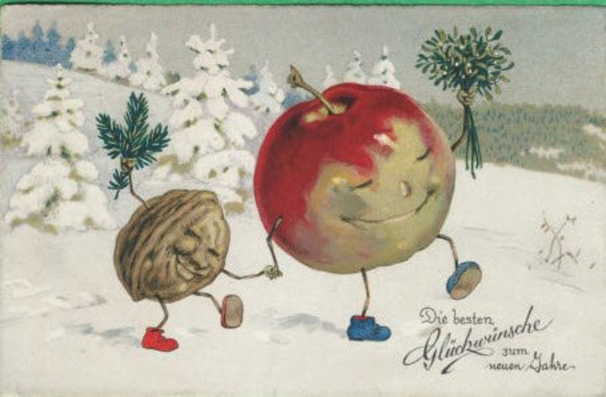 Anthropomorphic Vintage Christmas postcard