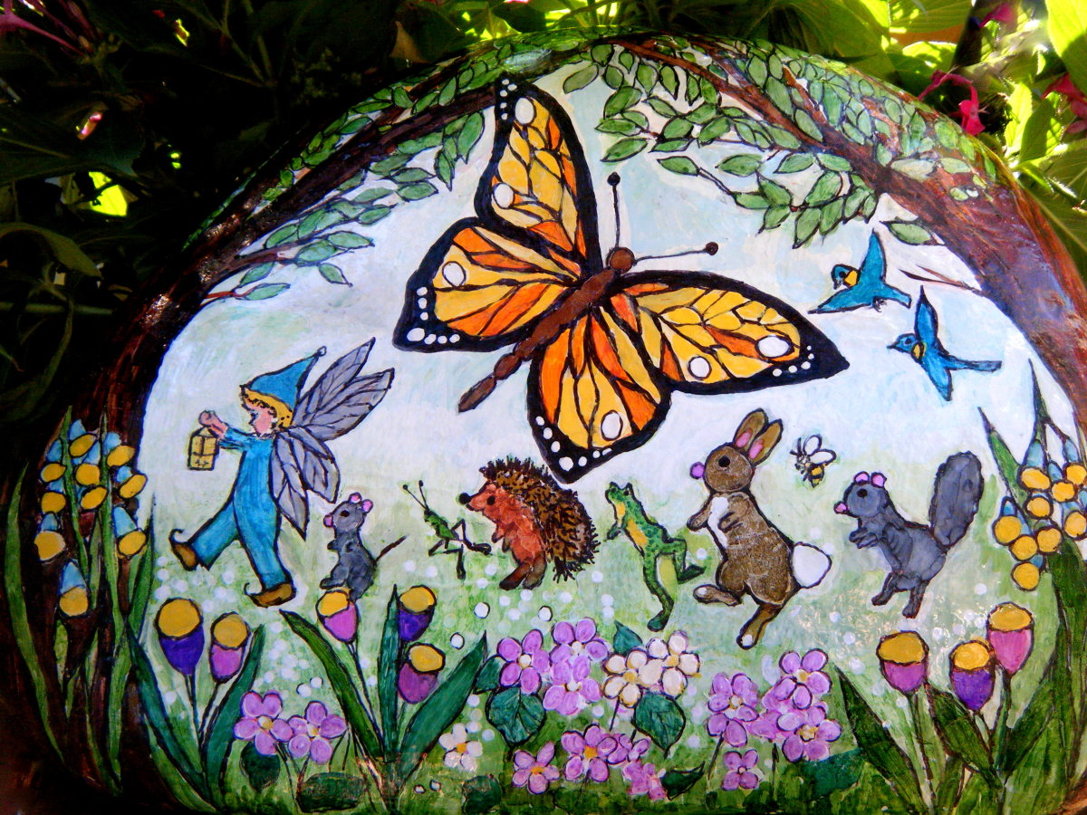 Hand-Painted Fairy & Friends Parade in a Meadow Garden Rock