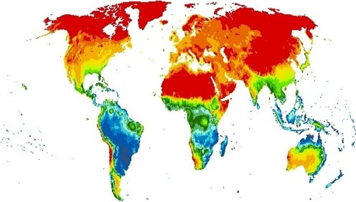 This is a global evaporation map. South America experiences the most evaporation out of any region.