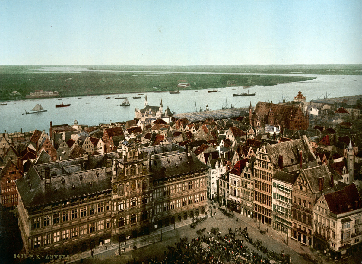The City of Antwerp and the River Scheldt from Above, around 1900