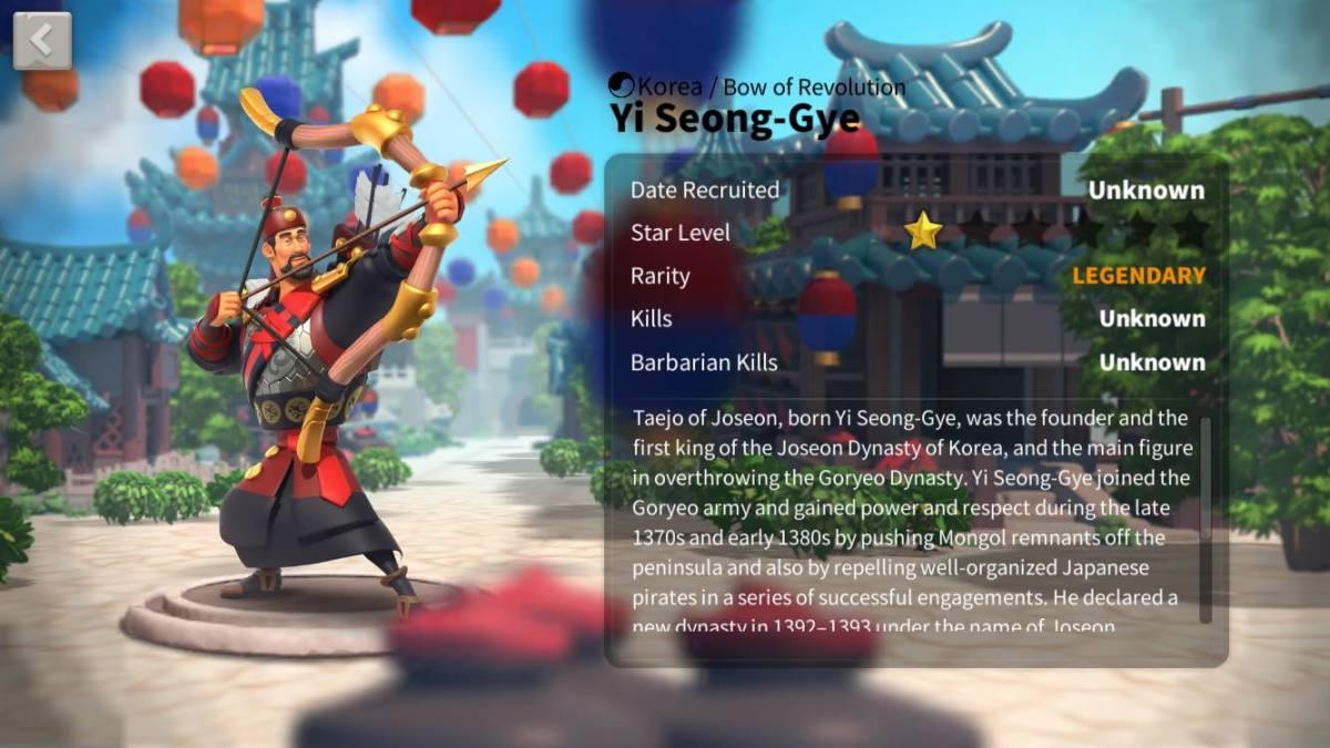 "Yi Seong-Gye Profile Page in ""Rise of Kingdoms"""