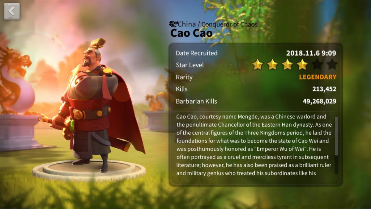 "Cao Cao's Commander Profile Page in ""Rise of Kingdoms"""