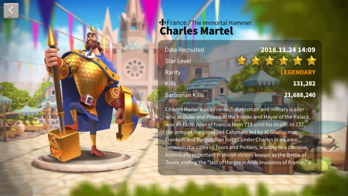 Charles Martel's Commander Profile Page