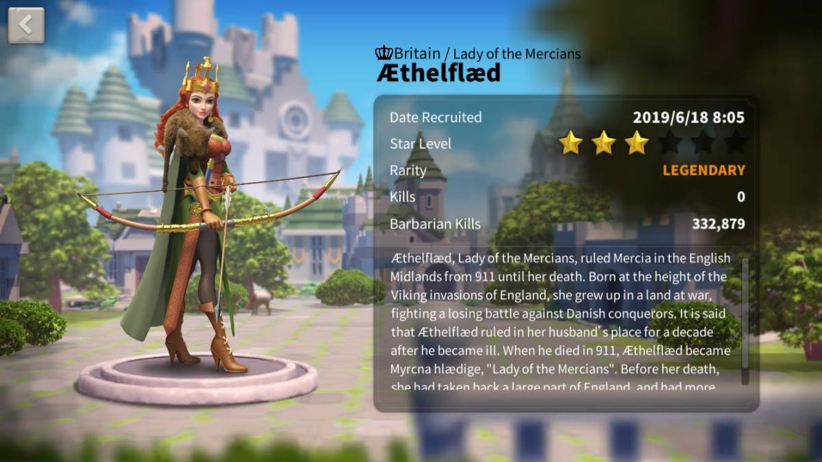 "Aethelfaed's Profile Page in ""Rise of Kingdoms"""