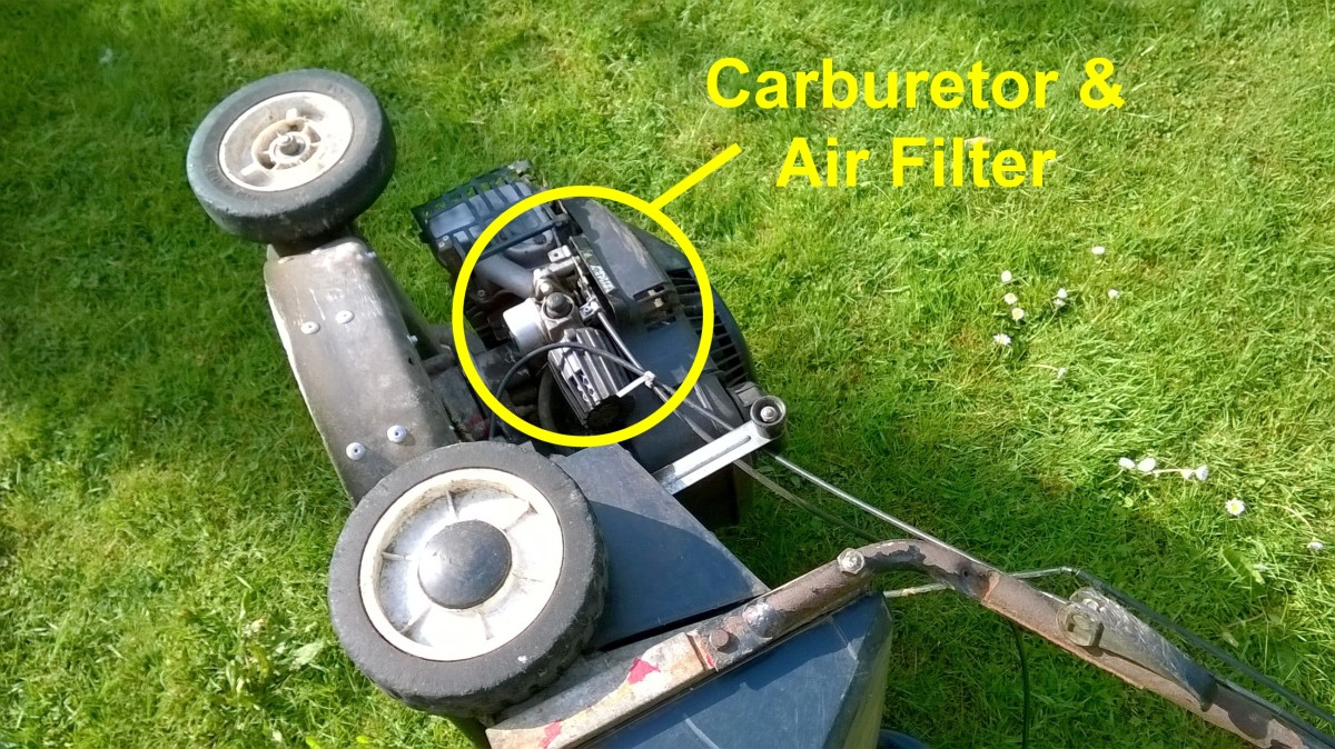 Check the manual for the recommended way to tilt the mower. Sometimes manufacturers recommend placing a mower on its side with the carburetor pointing upwards.....