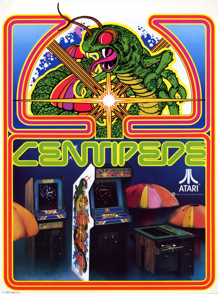 A flyer for Centipede (1980) showcasing different cabinet styles. From left to right: cabaret, upright, cocktail.