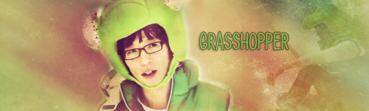 Yoo Jae Suk in his most famous TV character, Grasshopper