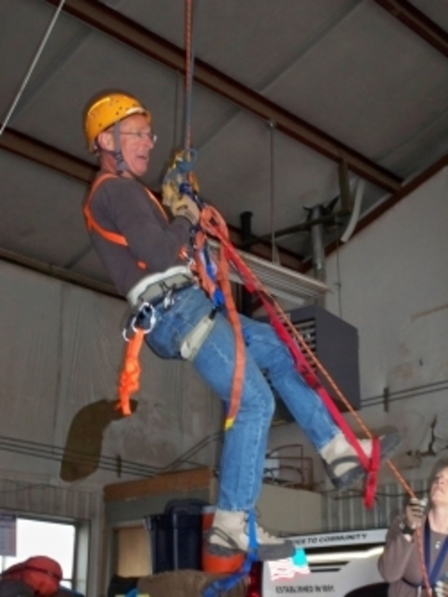 Bob, practicing ascending in the Search & Rescue building