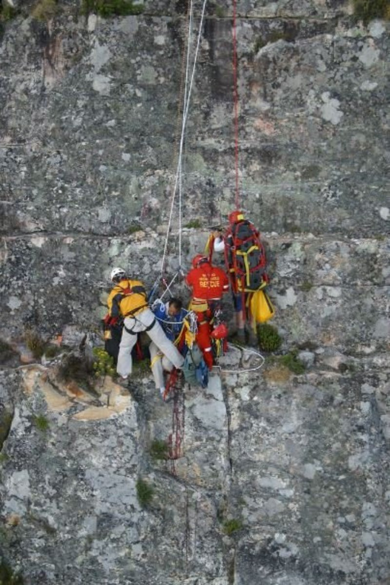 This rescue occurred on Table Mountain, Cape Town, South Africa, said to be one of the most difficult rescue operations in years.