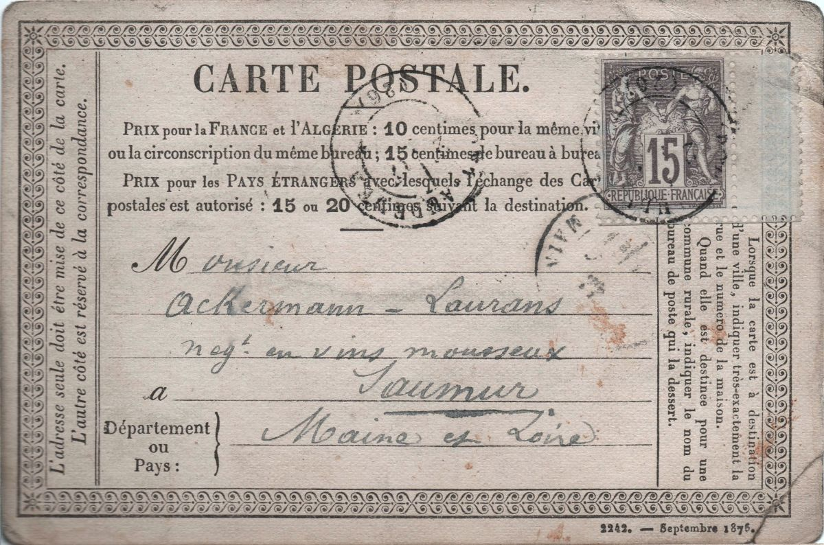 French postcard dating from 1875