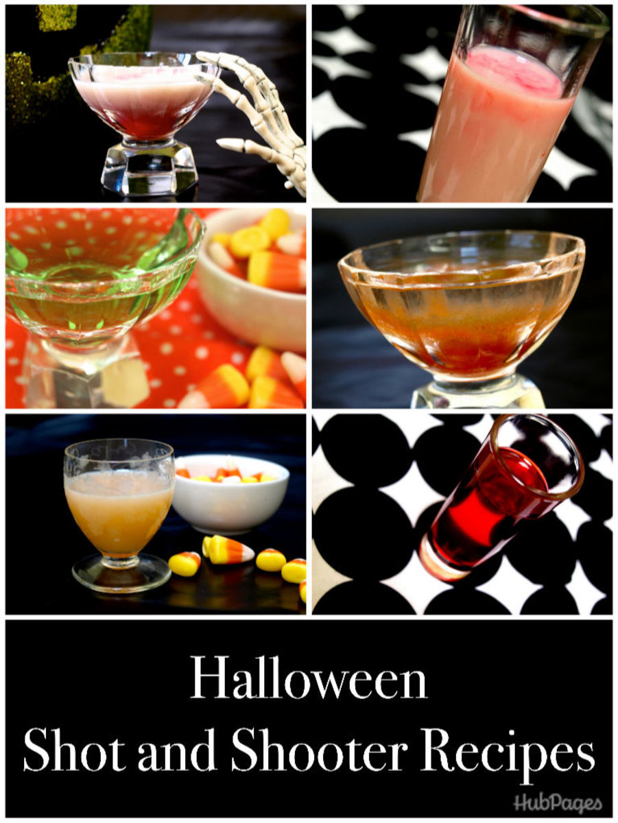 Festive Halloween recipes for shots and cocktails.