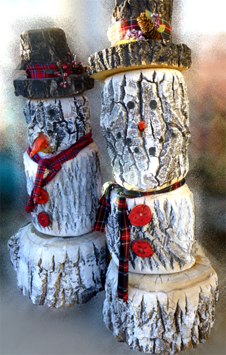 DIY Log Snowman Tutorial