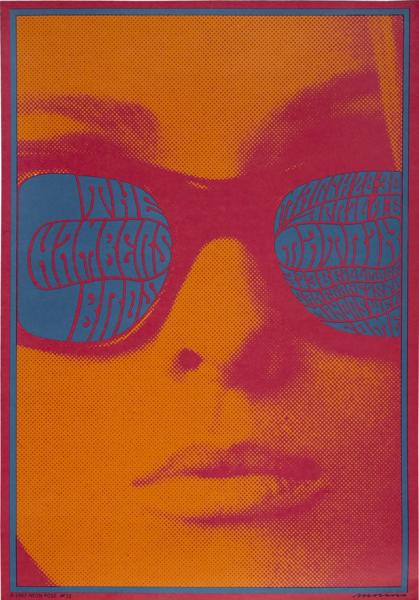 The Chambers Brothers Matrix Concert Poster NR-12 (Neon Rose, 1967) Art by Victor Moscoso