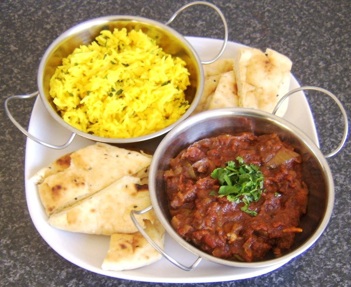Bhuna lamb with spicy fragrant rice and naan bread
