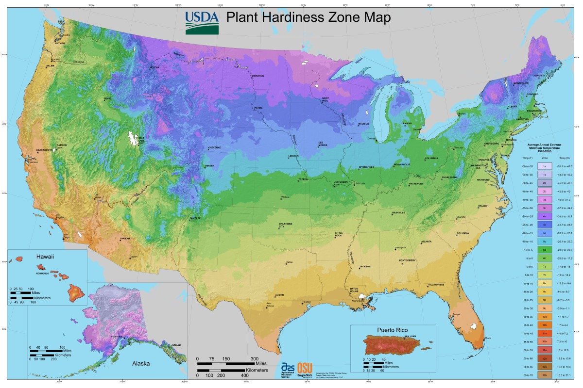 This is the USDA Map of Gardening Zones, based on cold hardiness. The column on the right indicates the different zones by color.