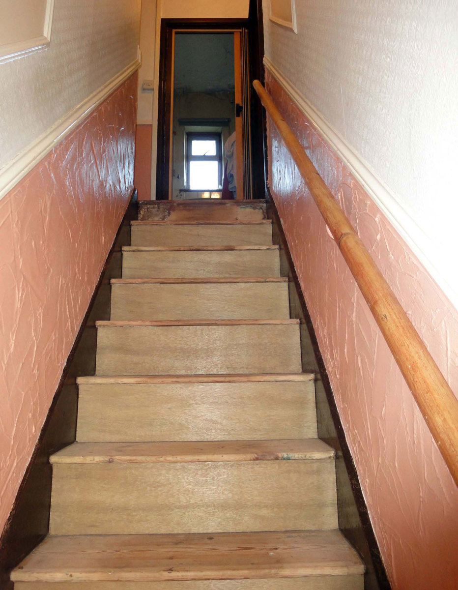 Stairs, once they had been properly sanded and cleaned.