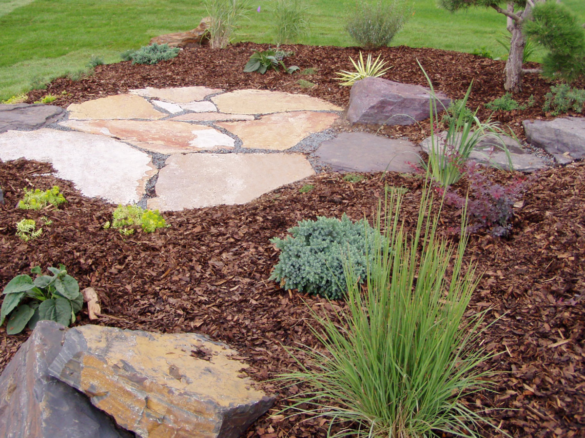 Flagstone and woodchips