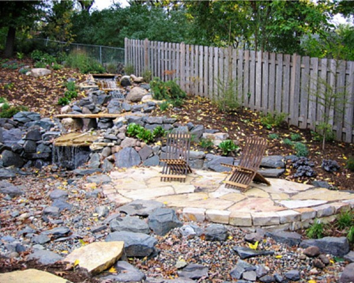 Flagstone with loose rocks large and small