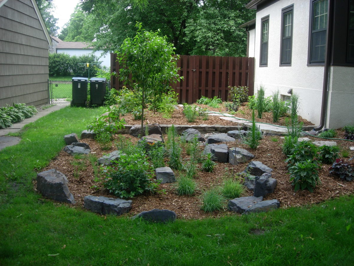 Mulch and rock garden