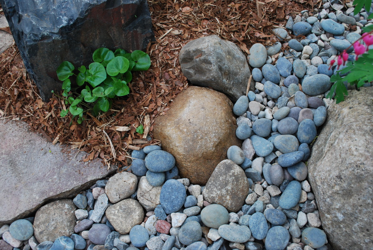 Large stones, small stones and mulch