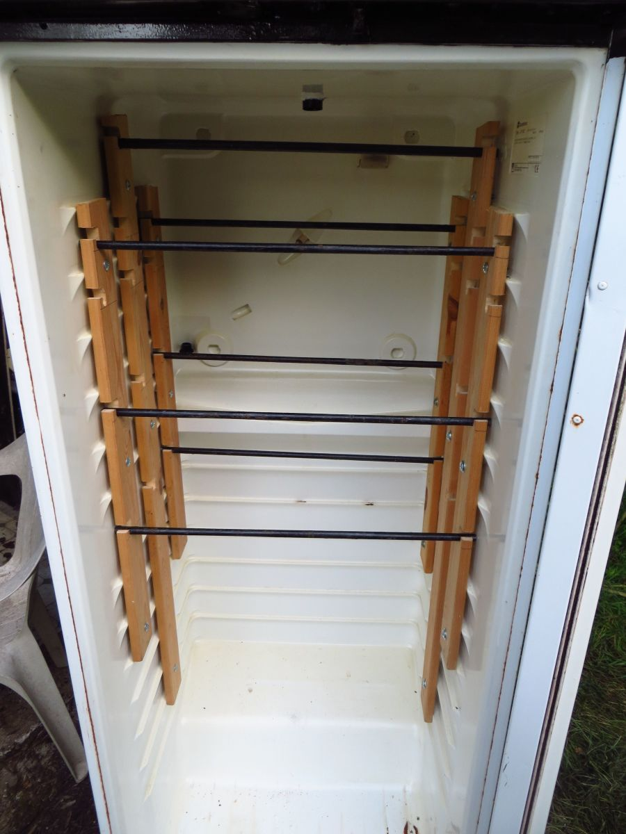 A finished fridge-turned-cold-smoker.