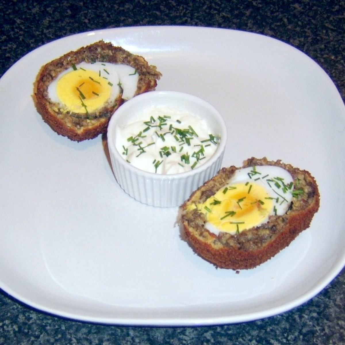Haggis Scotch duck egg with garlic and chive mayo