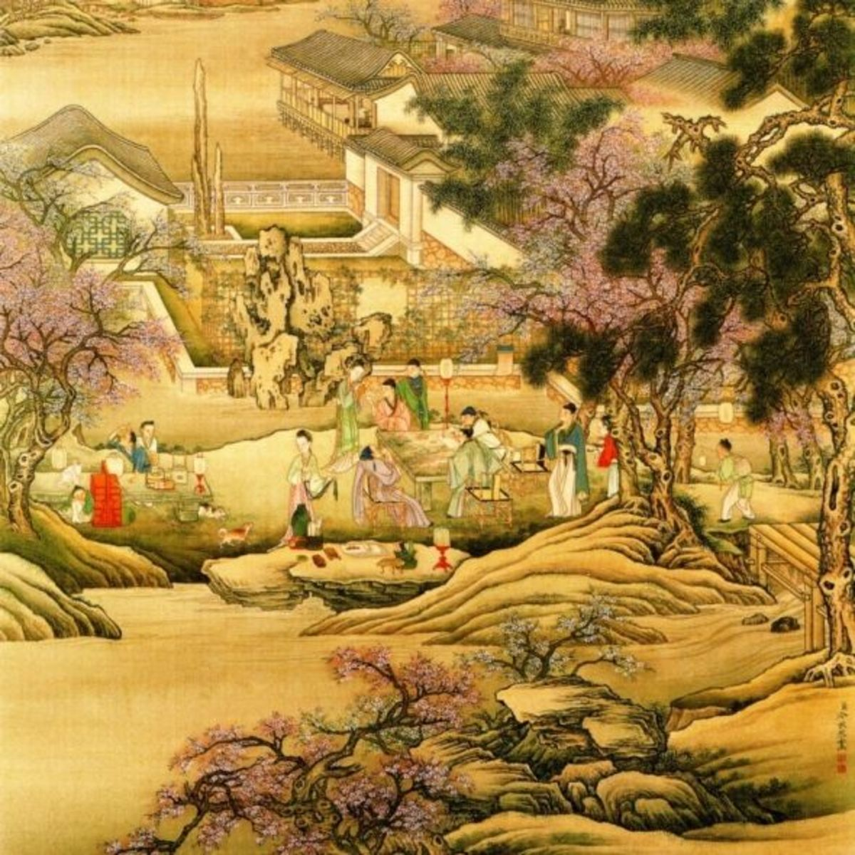 "This image is a segment of the painting ""Evening Banquet at the Peach and Pear Blossom Garden"" by Leng Mei from the National Palace Museum, Taipei."