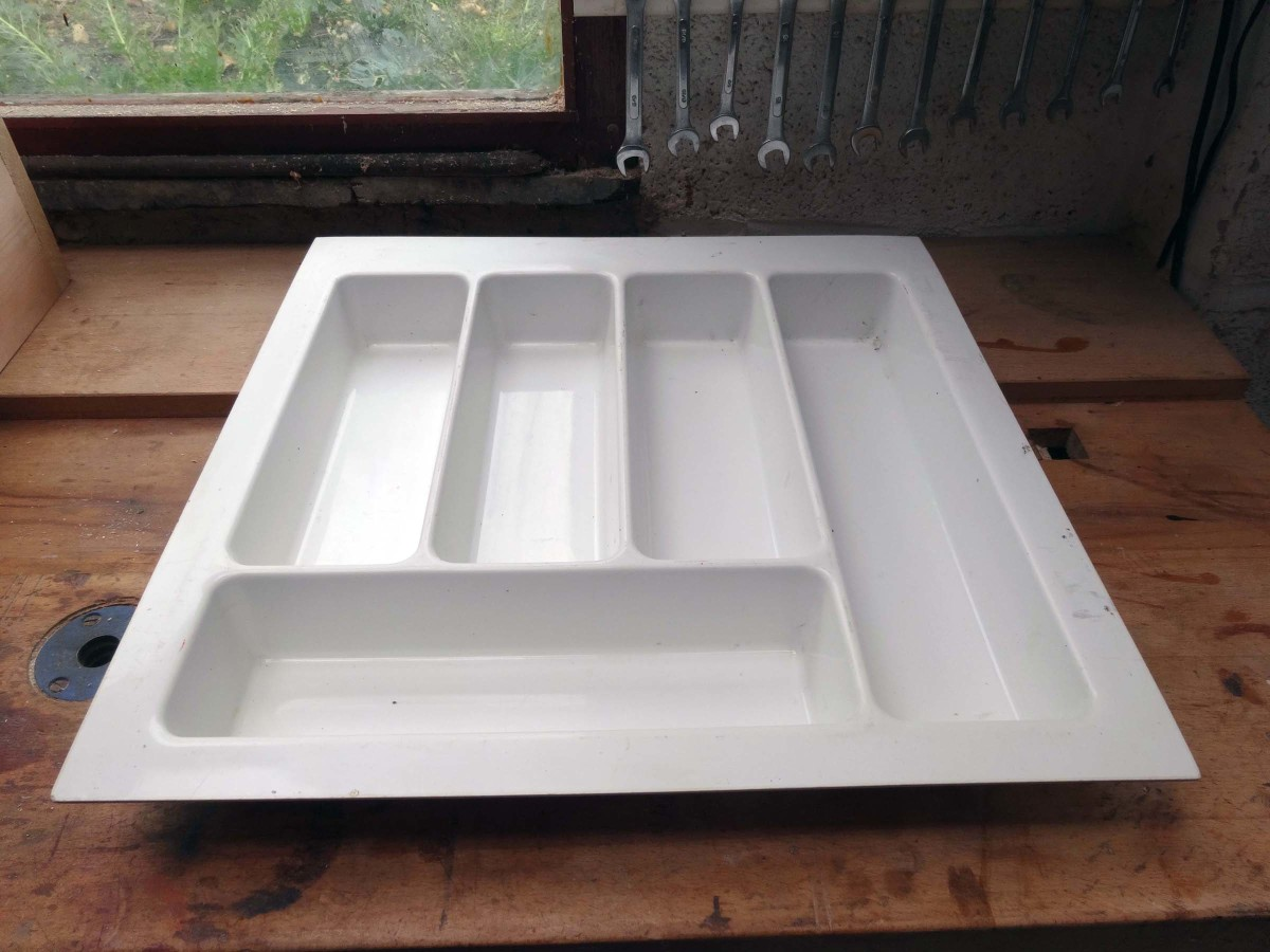 Large moulded plastic cutlery tray