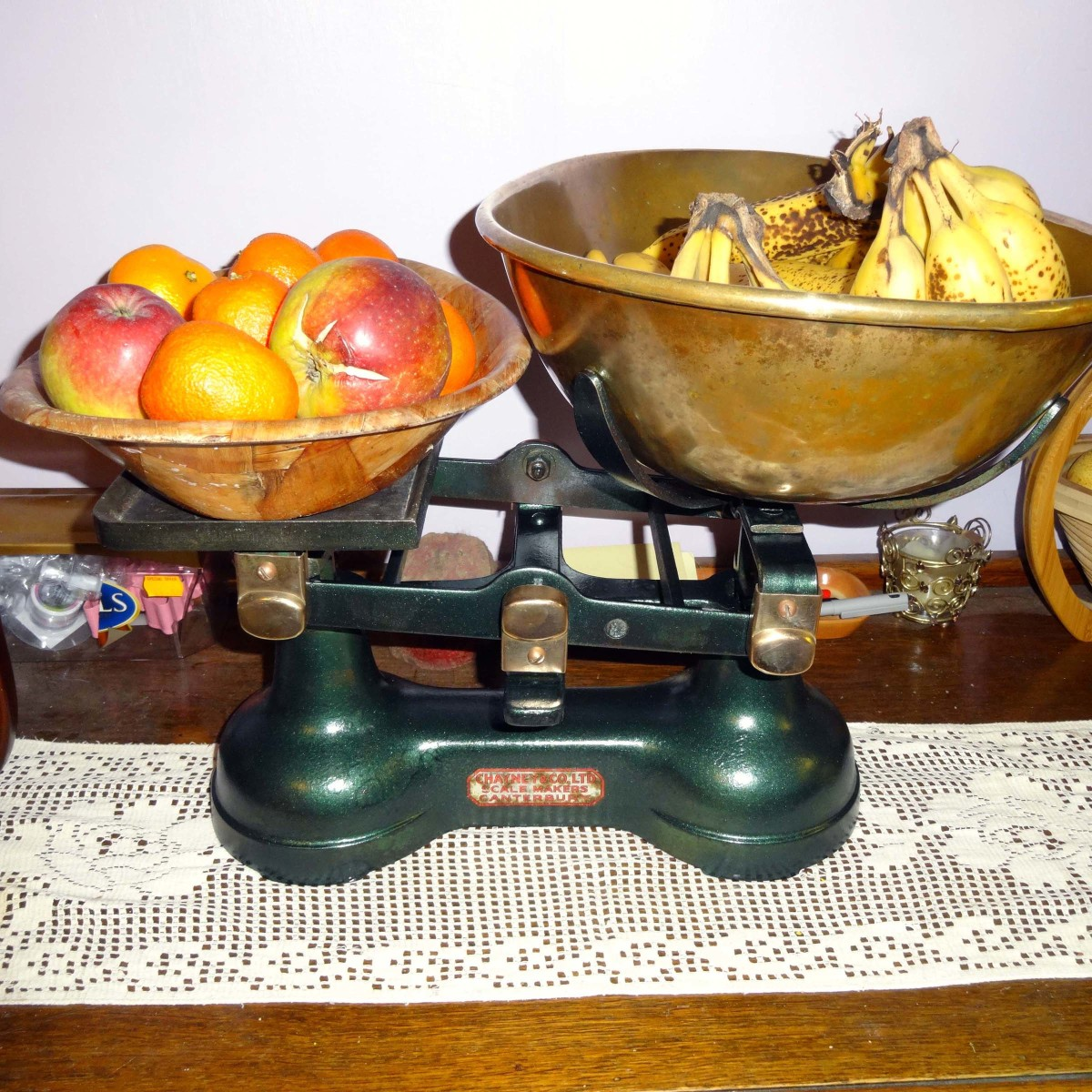 Restoration and Repurposing of an Old Pair of Scales as a Fruit Bowl