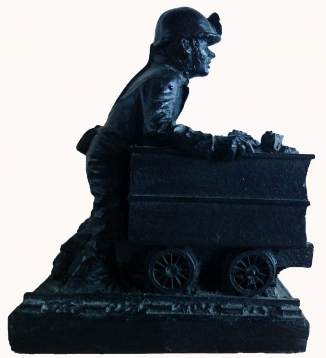 This is a Welsh coal miner figurine that was hand-made from coal.