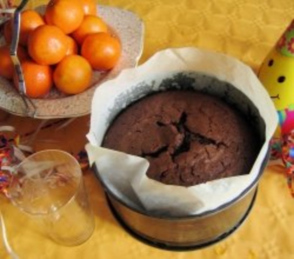 Parchment lined cake tin.