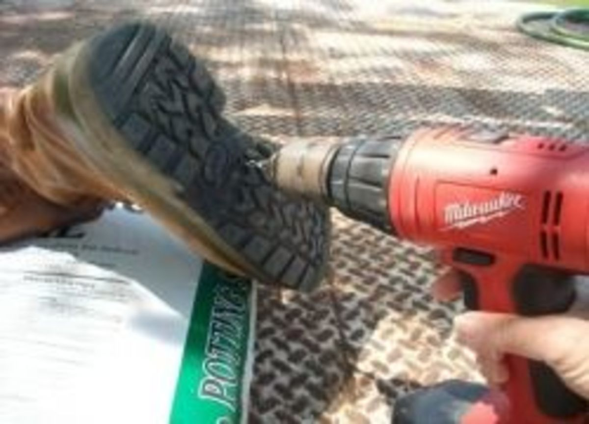 Drilling drainage holes in the bottom of old boots